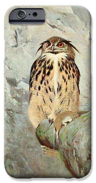 Dentist Drawings iPhone Cases - Horned Owl iPhone Case by Philip Ralley