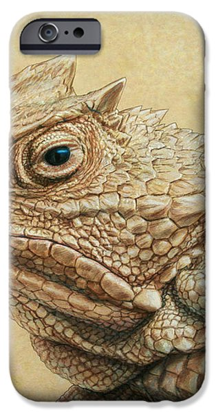Horned Toad iPhone Case by James W Johnson