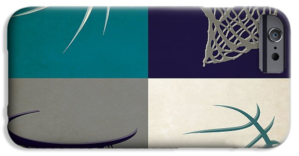 Dunk iPhone Cases - Hornets Ball And Hoop iPhone Case by Joe Hamilton