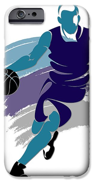Charlotte iPhone Cases - Hornets Basketball Player2 iPhone Case by Joe Hamilton