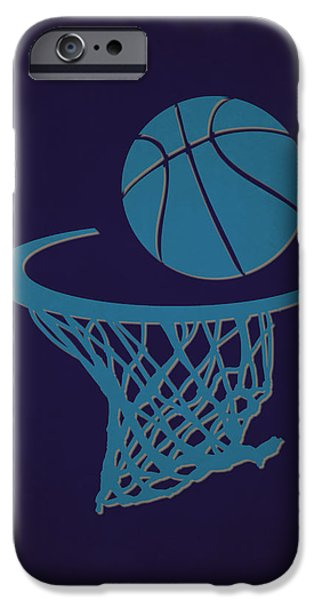 Charlotte iPhone Cases - Hornets Team Hoop2 iPhone Case by Joe Hamilton