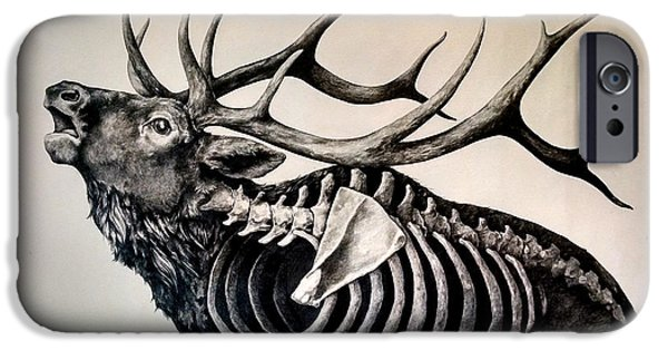 Patriotic Art Drawings iPhone Cases - Horns Above Bones Within iPhone Case by Alex M Petersen