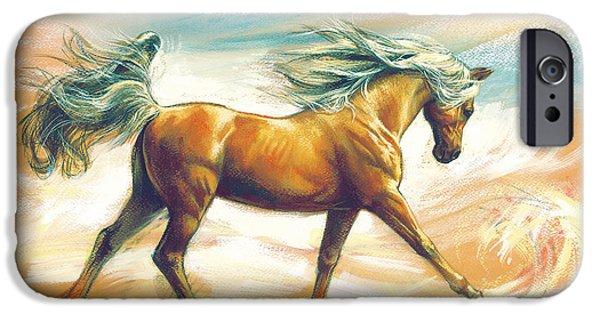 Maine Farms iPhone Cases - Horse Akalteke iPhone Case by Zorina Baldescu