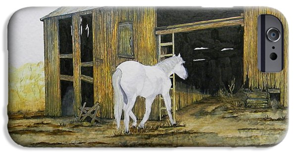 Shed Drawings iPhone Cases - Horse and Barn iPhone Case by Bertie Edwards