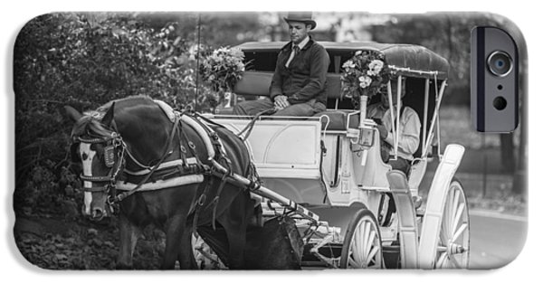 Horse And Buggy iPhone Cases - Horse and Buggy Central Park  iPhone Case by John McGraw