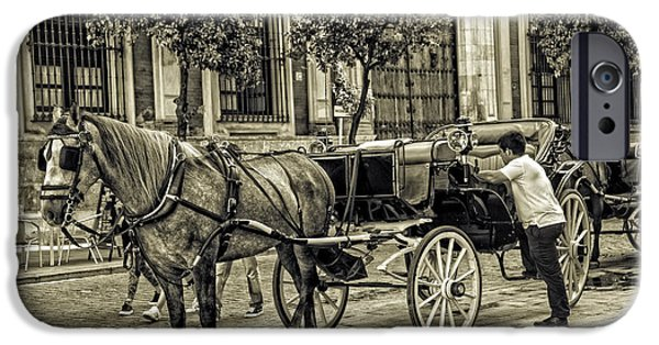 Horse And Buggy Photographs iPhone Cases - Horse and Buggy in Sevilla - Spain iPhone Case by Madeline Ellis