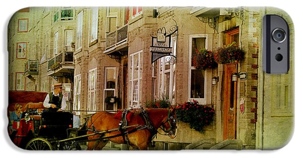 Horse And Buggy Digital iPhone Cases - Horse and Buggy Street Scene Photograph iPhone Case by Laura  Carter