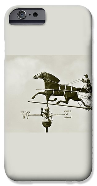 Horse And Buggy Weathervane In Sepia iPhone Case by Ben and Raisa Gertsberg