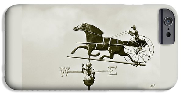 Horse And Buggy iPhone Cases - Horse And Buggy Weathervane In Sepia iPhone Case by Ben and Raisa Gertsberg