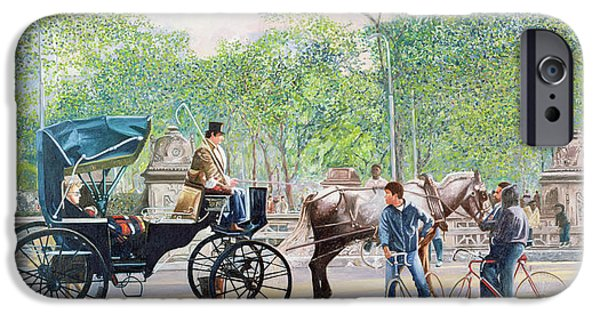 Park Scene iPhone Cases - Horse and Carriage iPhone Case by Anthony Butera