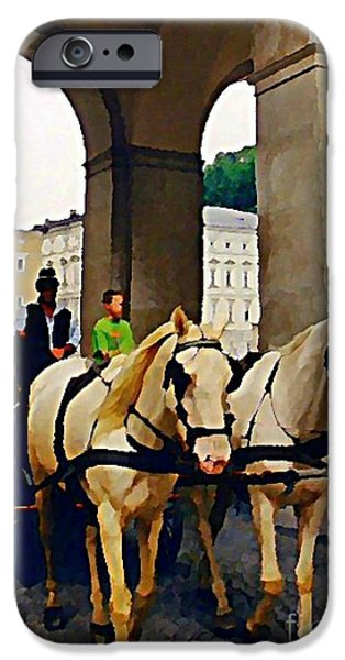 Horse And Buggy Digital iPhone Cases - Horse and Carriage in Salzburg Austria iPhone Case by John Malone