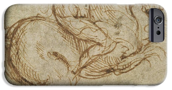 Animal Drawings iPhone Cases - Horse and Cavalier iPhone Case by Leonardo da Vinci