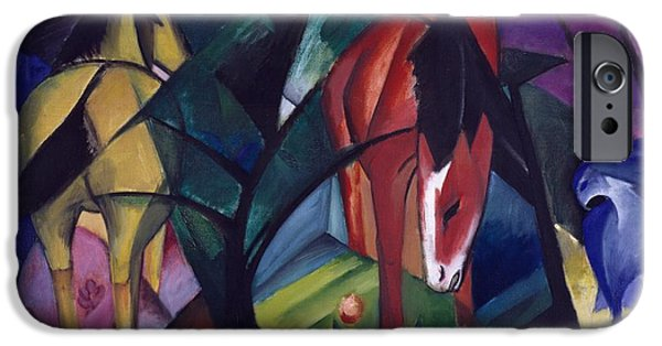 Abstract Expressionist iPhone Cases - Horse and Eagle iPhone Case by Franz Marc
