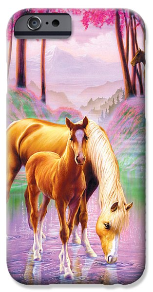 Mist iPhone Cases - Horse and Foal iPhone Case by Andrew Farley