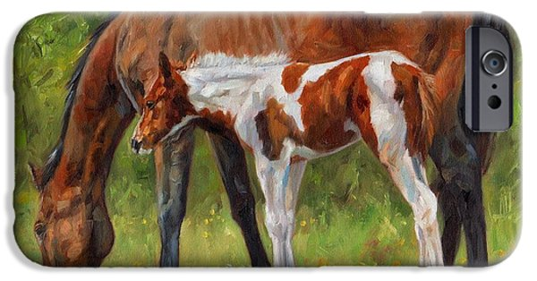 David iPhone Cases - Horse and Foal iPhone Case by David Stribbling
