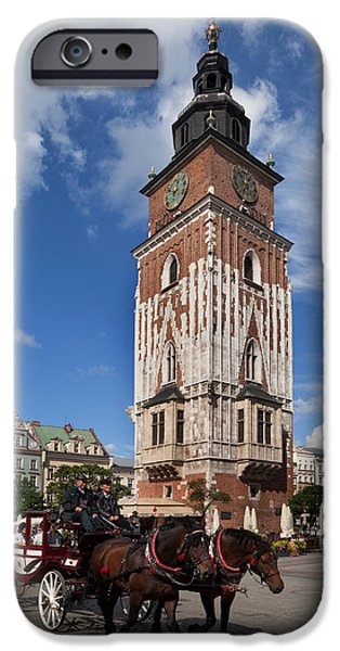 Town Square iPhone Cases - Horse And Trap Passing Wieza Ratuszowa iPhone Case by Panoramic Images
