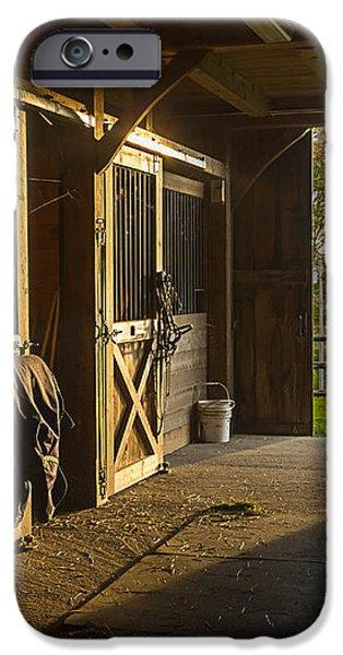 Horse Barn Sunset iPhone Case by Edward Fielding