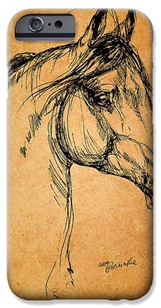 horse drawing iPhone Case by Angel  Tarantella