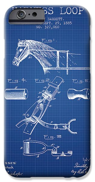 Horse Stable iPhone Cases - Horse Harness Loop Patent from 1885 - Blueprint iPhone Case by Aged Pixel