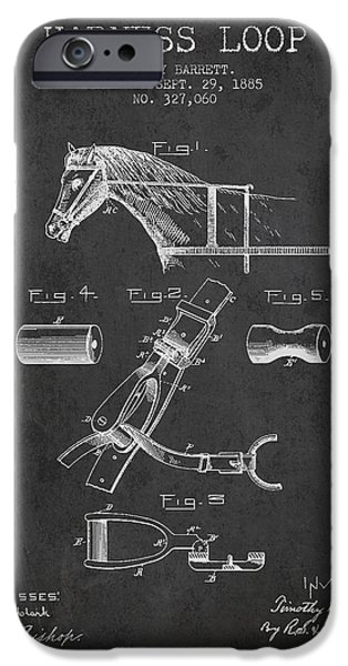 Horse Stable iPhone Cases - Horse Harness Loop Patent from 1885 - Dark iPhone Case by Aged Pixel