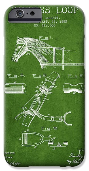 Tack iPhone Cases - Horse Harness Loop Patent from 1885 - Green iPhone Case by Aged Pixel