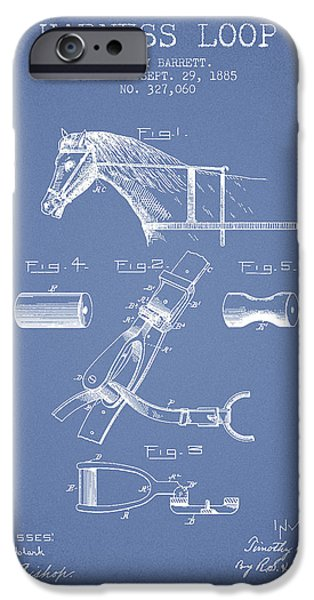 Horse Stable iPhone Cases - Horse Harness Loop Patent from 1885 - Light Blue iPhone Case by Aged Pixel