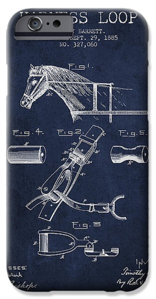 Horse Stable iPhone Cases - Horse Harness Loop Patent from 1885 - Navy Blue iPhone Case by Aged Pixel