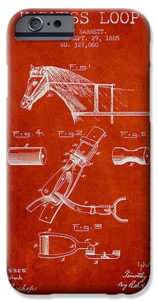 Horse Stable iPhone Cases - Horse Harness Loop Patent from 1885 - Red iPhone Case by Aged Pixel