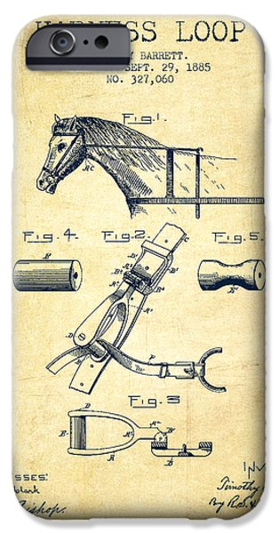 Horse Stable iPhone Cases - Horse Harness Loop Patent from 1885 - Vintage iPhone Case by Aged Pixel