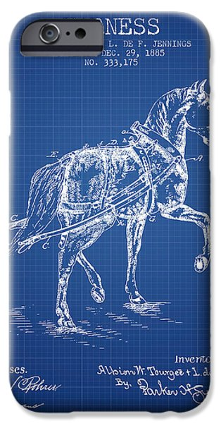 Horse Stable iPhone Cases - Horse harness patent from 1885 - Blueprint iPhone Case by Aged Pixel