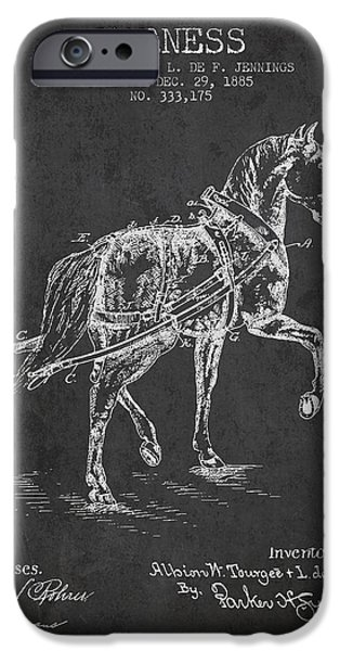 Horse Stable iPhone Cases - Horse harness patent from 1885 - Charcoal iPhone Case by Aged Pixel