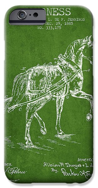 Horse Stable iPhone Cases - Horse harness patent from 1885 - Green iPhone Case by Aged Pixel