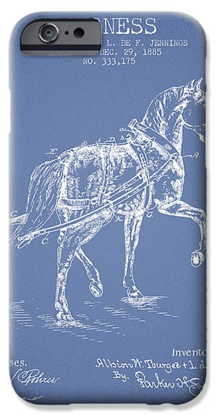 Horse Digital Art iPhone Cases - Horse harness patent from 1885 - Light Blue iPhone Case by Aged Pixel