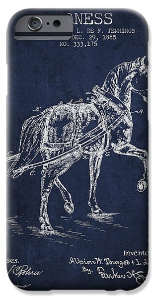 Horse Stable iPhone Cases - Horse harness patent from 1885 - navy Blue iPhone Case by Aged Pixel