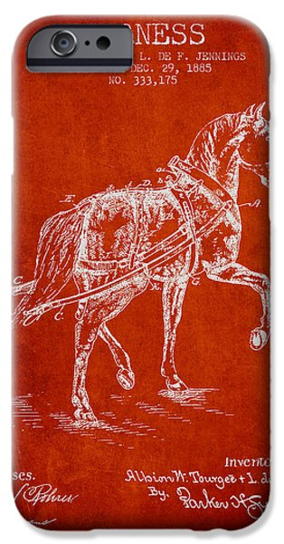 Tack iPhone Cases - Horse harness patent from 1885 - Red iPhone Case by Aged Pixel