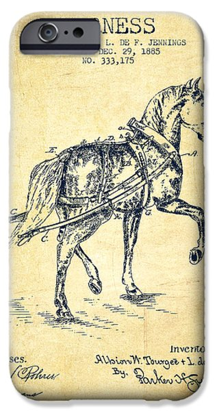 Horse Stable iPhone Cases - Horse harness patent from 1885 - Vintage iPhone Case by Aged Pixel