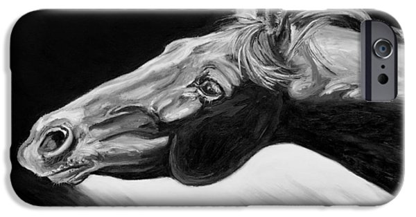 Nature Study iPhone Cases - Horse Head Black and White Study iPhone Case by Renee Forth-Fukumoto