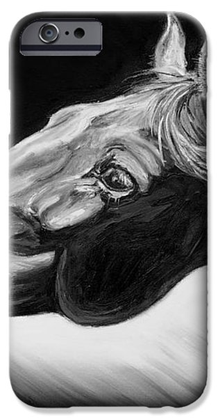 Horse Head Black and White Study iPhone Case by Renee Forth-Fukumoto