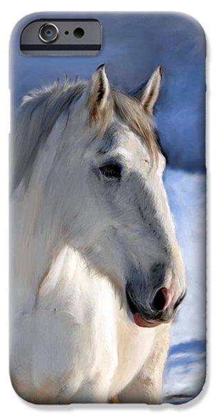 Horse iPhone Cases - Horse in Winter Landscape iPhone Case by Enzie Shahmiri