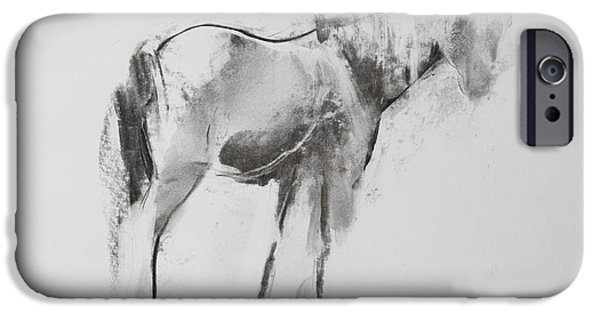Horse Pastels iPhone Cases - Horse iPhone Case by Janet Goddard