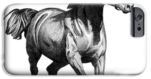 Animal Drawings iPhone Cases - Horse iPhone Case by Jason VanderHoff