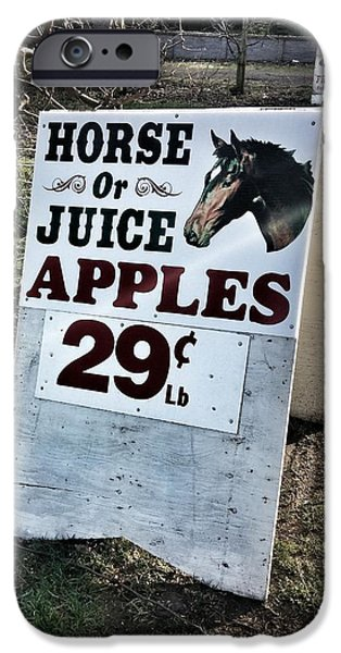 Farm Stand iPhone Cases - Horse or Juice Apples iPhone Case by Melissa Coffield