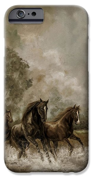 The Horse iPhone Cases - Horse Painting Escaping the Storm iPhone Case by Gina Femrite