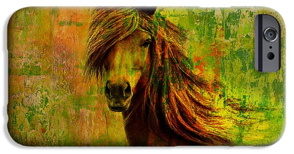 Corporate Art iPhone Cases - Horse paintings 001 iPhone Case by Catf