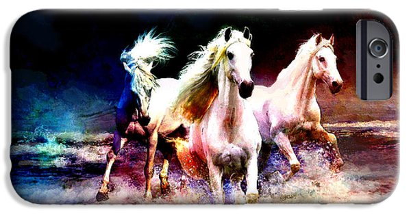 Corporate Art iPhone Cases - Horse paintings 002 iPhone Case by Catf