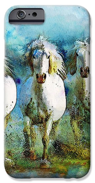 Horse Paintings 005 iPhone Case by Catf