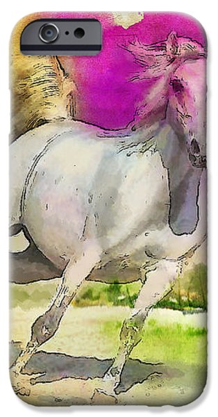 Horse paintings 007 iPhone Case by Catf
