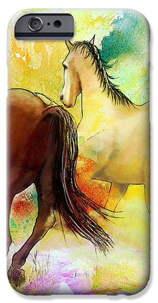Horse paintings 009 iPhone Case by Catf