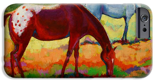 Nature Abstracts iPhone Cases - Horse Pasture Pals iPhone Case by Carol Jo Smidt