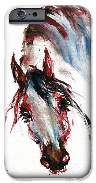 Horse iPhone Cases - Horse Portrait iPhone Case by Angel  Tarantella